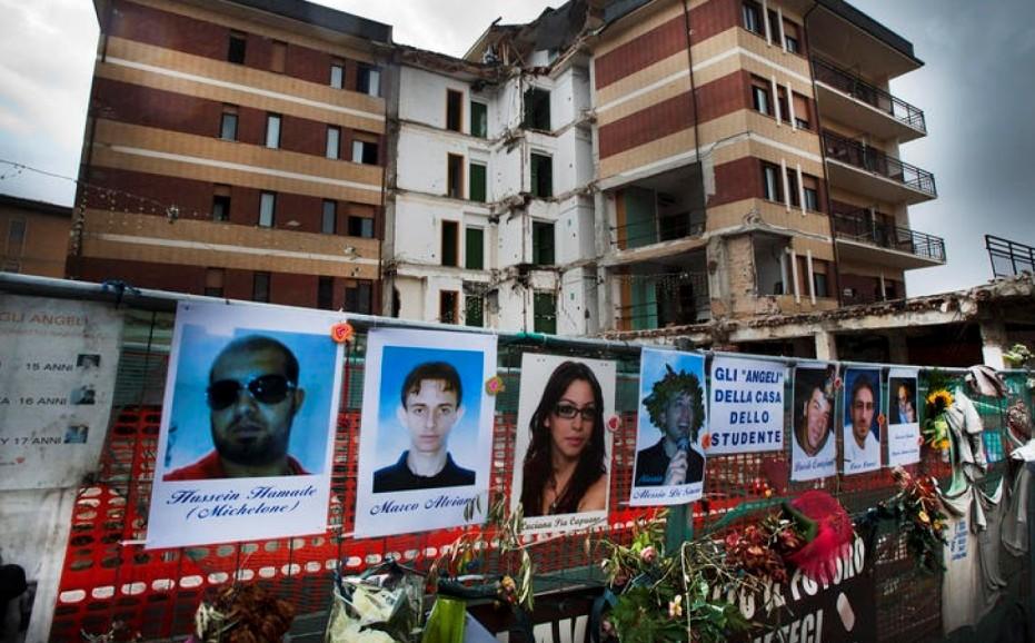 07/04/2012 L'Aquila. La citta' a tre anni dal sisma. Nella foto la casa dello studente, dove hanno perso la vita numerosi giovani